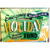 Emergency Holiday Fund Vintage Tin Moneybox- Small.