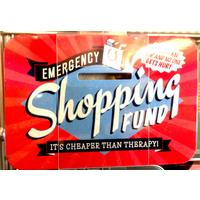 Emergency Shopping Fund Vintage Tin Moneybox- Small.