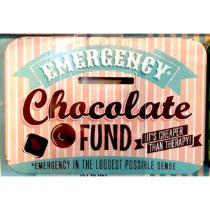 Emergency Chocolate Fund Vintage Tin Moneybox- Small.