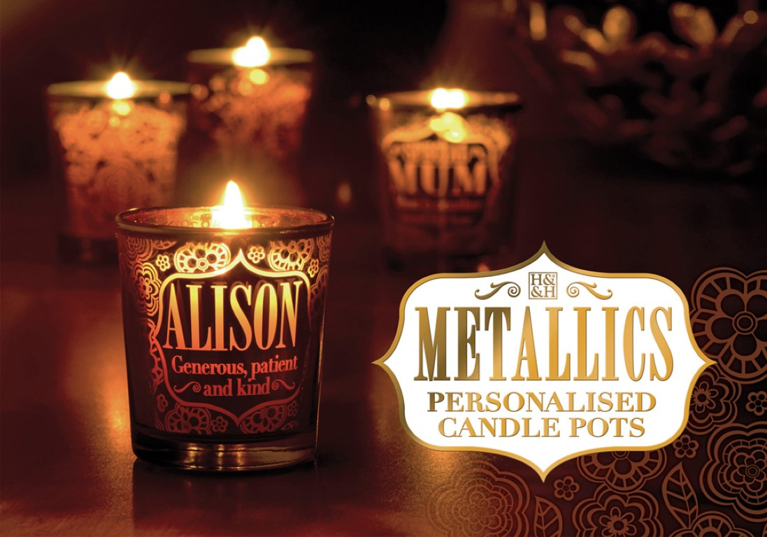 H&H Metallic Personalised Candle Holder (Names and Generic Title