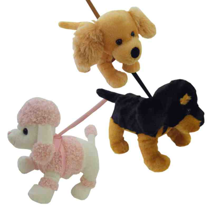 Pink And White Dog On A Lead Soft Toy